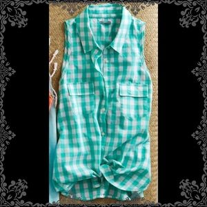 Aerie Teal Checkered Button Down Top